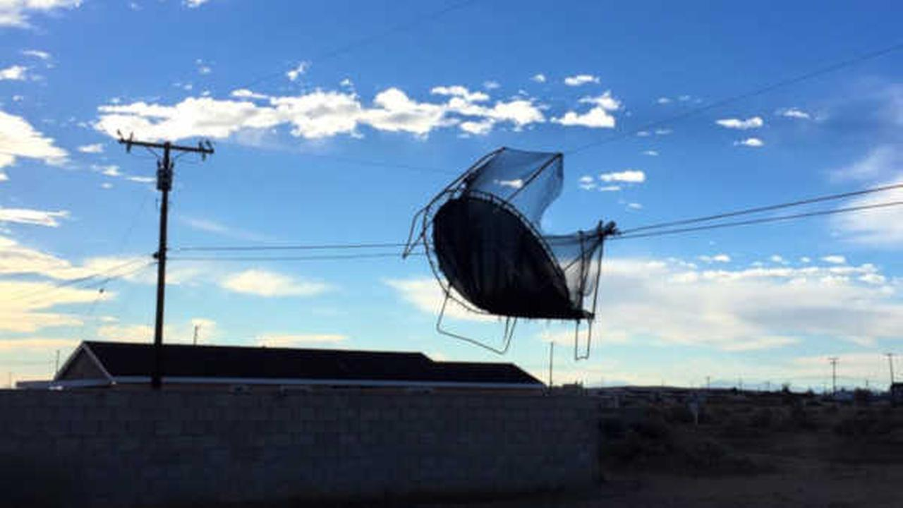 Powerful winds sends trampoline flying into set of power lines in California