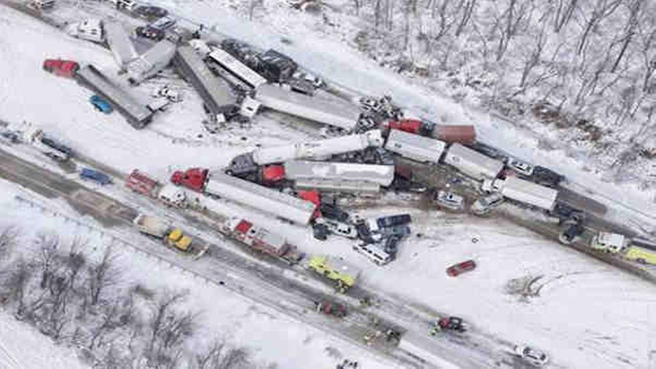 Multiple fatalities after 50-car pileup on I-78 in Pennsylvania