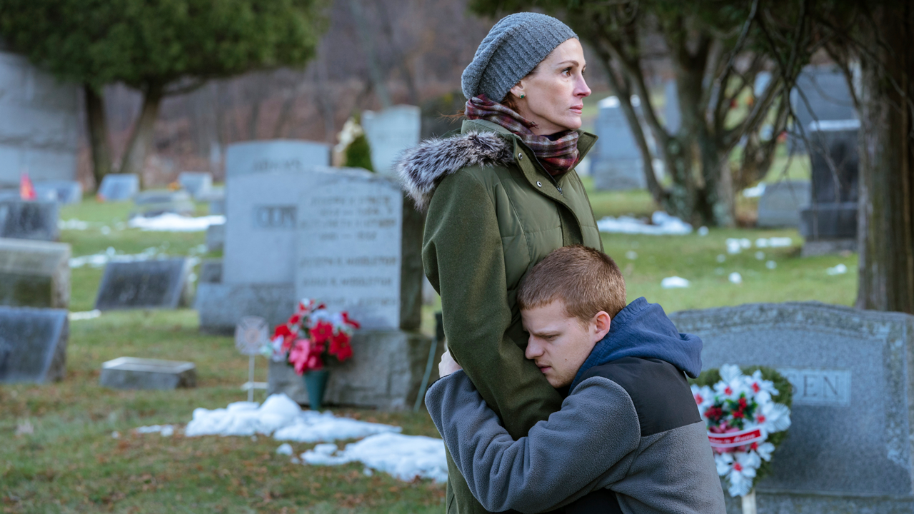 This image released by Roadside Attractions shows Lucas Hedges, right, and Julia Roberts in a scene from Ben is Back.
