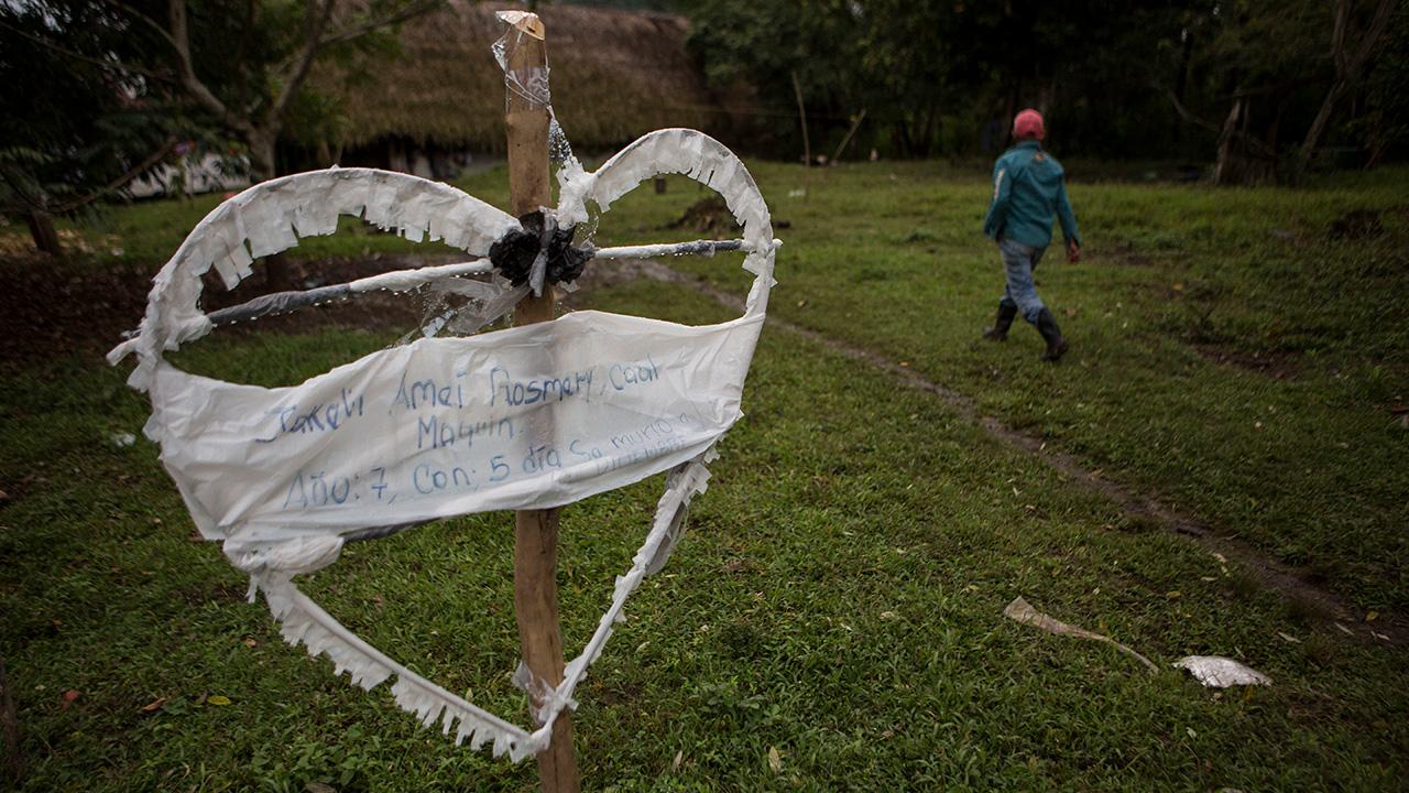 A heart-shaped sign displays the name of Jakelin Amei Rosmey Caal in Raxruha, Guatemala, on Saturday, Dec. 15, 2018.