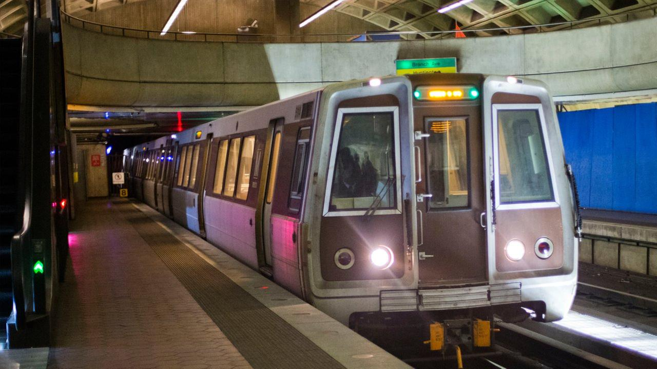 A subway train arrives at the LEnfant Metro Station, which is part of the public mass transit network for Washington, Tuesday, Jan. 13, 2015.