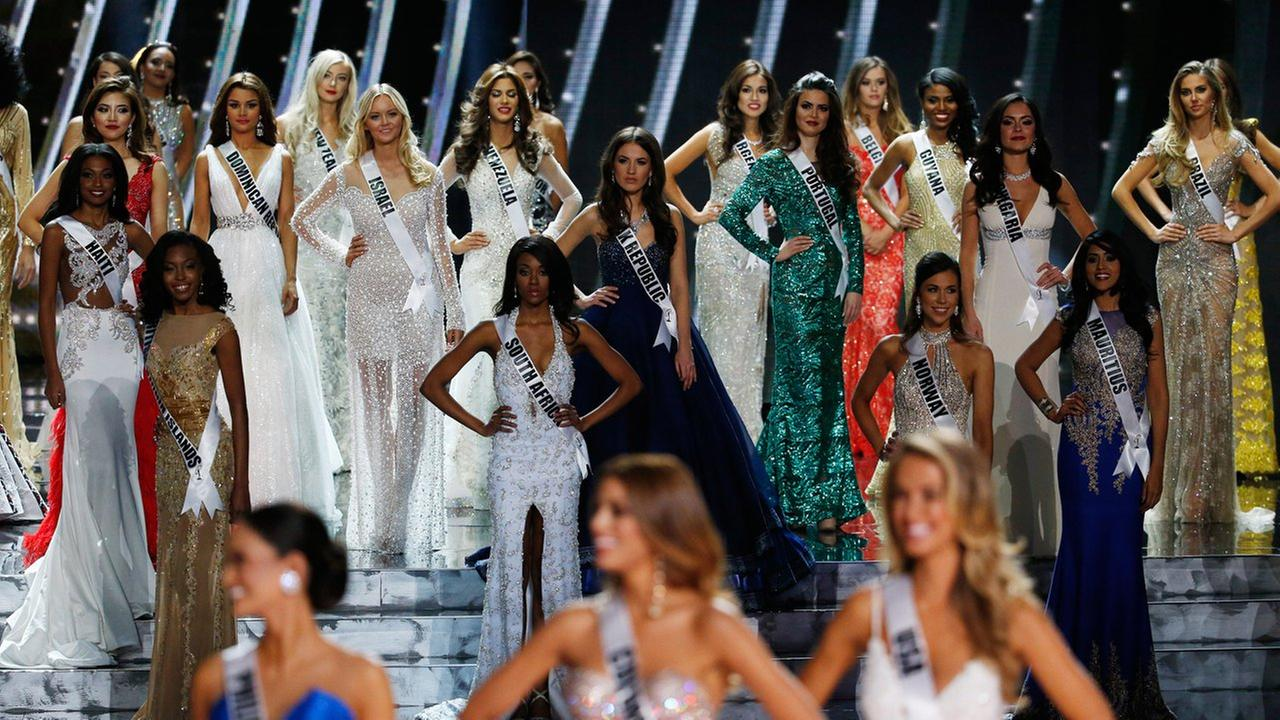 Contestants compete at the Miss Universe pageant Sunday, Dec. 20, 2015, in Las Vegas.