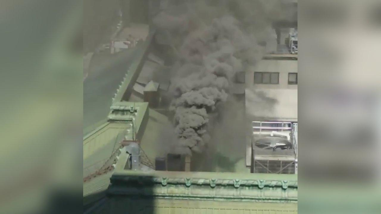 Smoke pours from roof of Grand Central Terminal after kitchen fire
