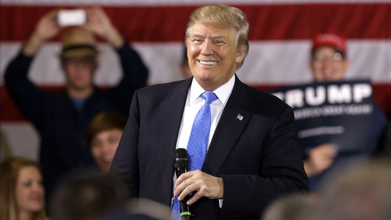 Republican presidential candidate Donald Trump smiles as he speaks at a campaign stop Tuesday, March 29, 2016, in Janesville, Wisconsin.
