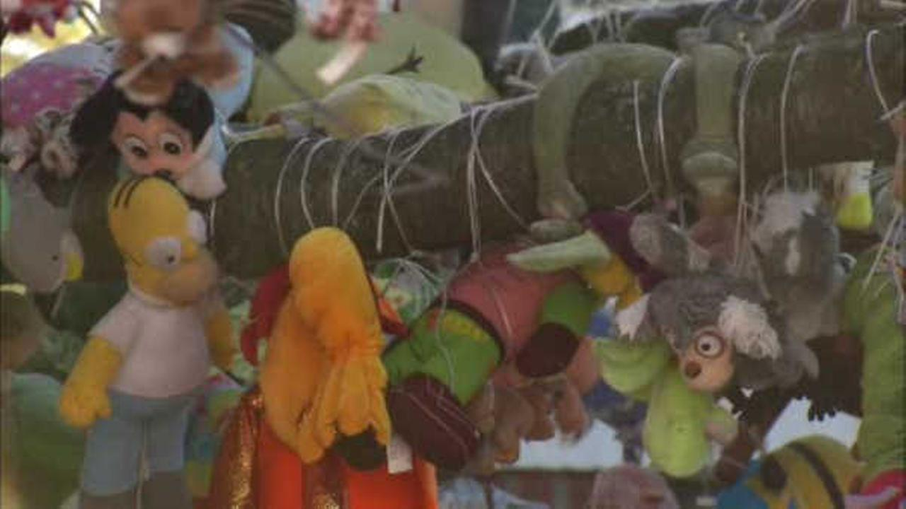 More than a thousand stuffed animals hang from tree in front yard
