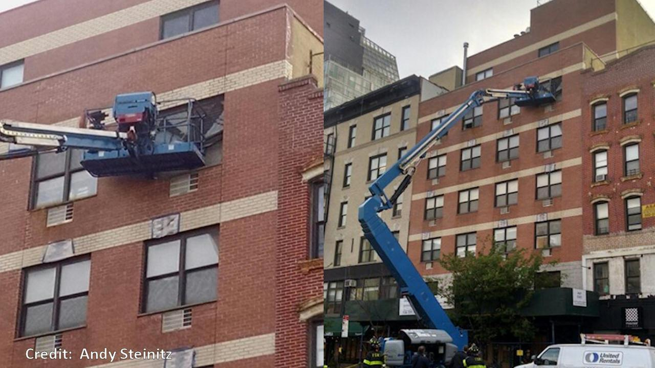 Cherry picker crashes through apartment window in Lower East Side