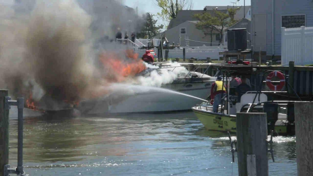 Boat near Copiague catches fire; man woman forced into water