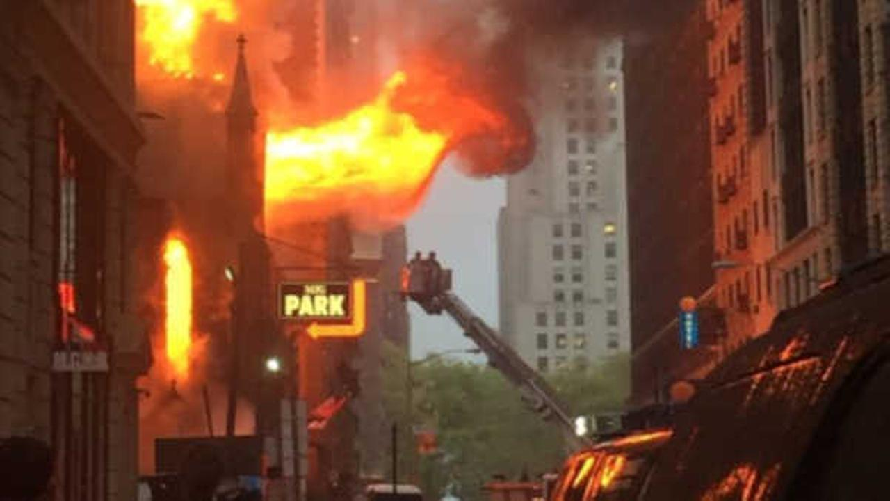 Massive fire engulfs NYC church; no injuries reported