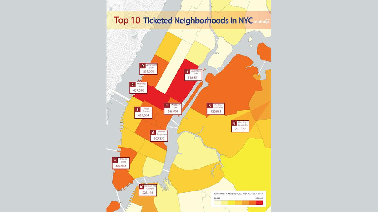 10 hot spots for parking tickets in New York City