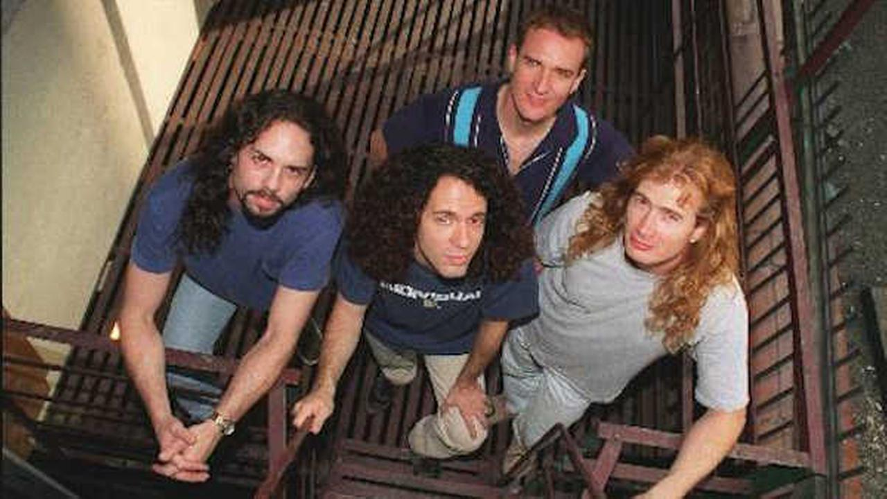 Members of the band Megadeth pose in New York Aug. 14, 199 From left, are Nick Menza, Marty Friedman, Ellefson and David Mustaine. (AP Photo/Jim Cooper)