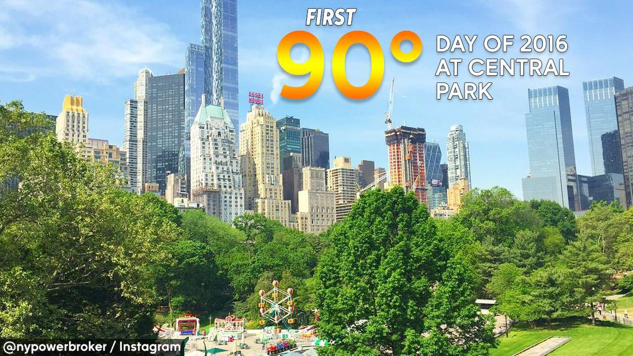 It's officially hot! Central Park hits 90 degrees for first time in 2016