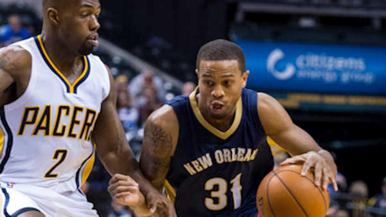 In this file photo, New Orleans Pelicans Bryce Dejean-Jones (31) drives the ball around the defense of Indiana Pacers Rodney Stuckey (2)  (AP Photo/Doug McSchooler, File)