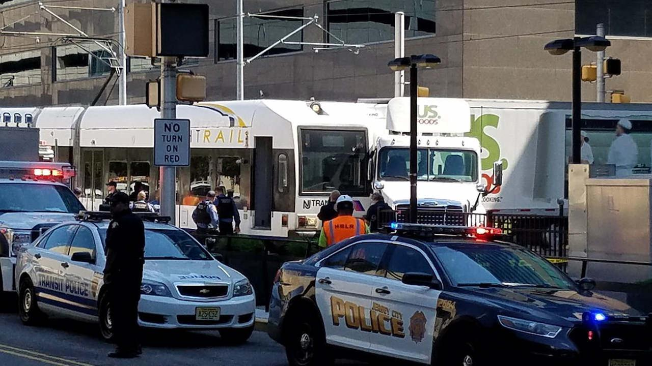Tractor-trailer and light rail train collide in Jersey City; 1 minor injury