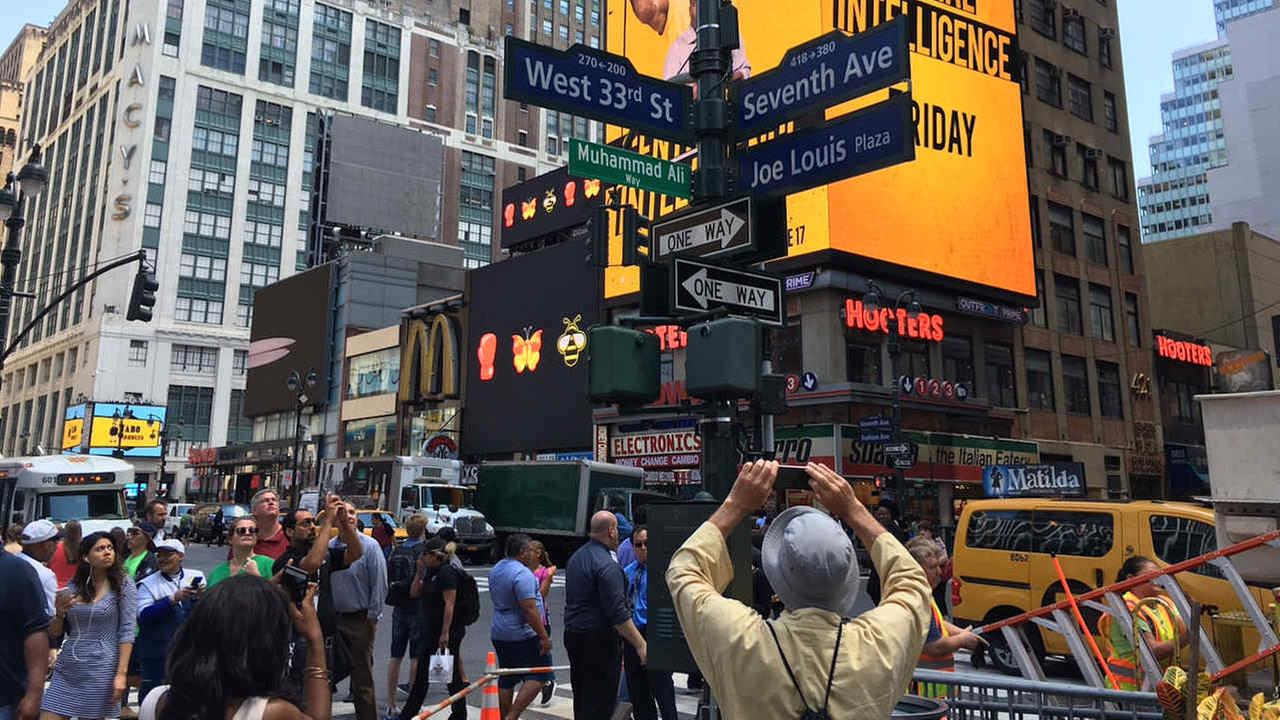 Street near Madison Square Gardent temporarily named Muhammad Ali Way