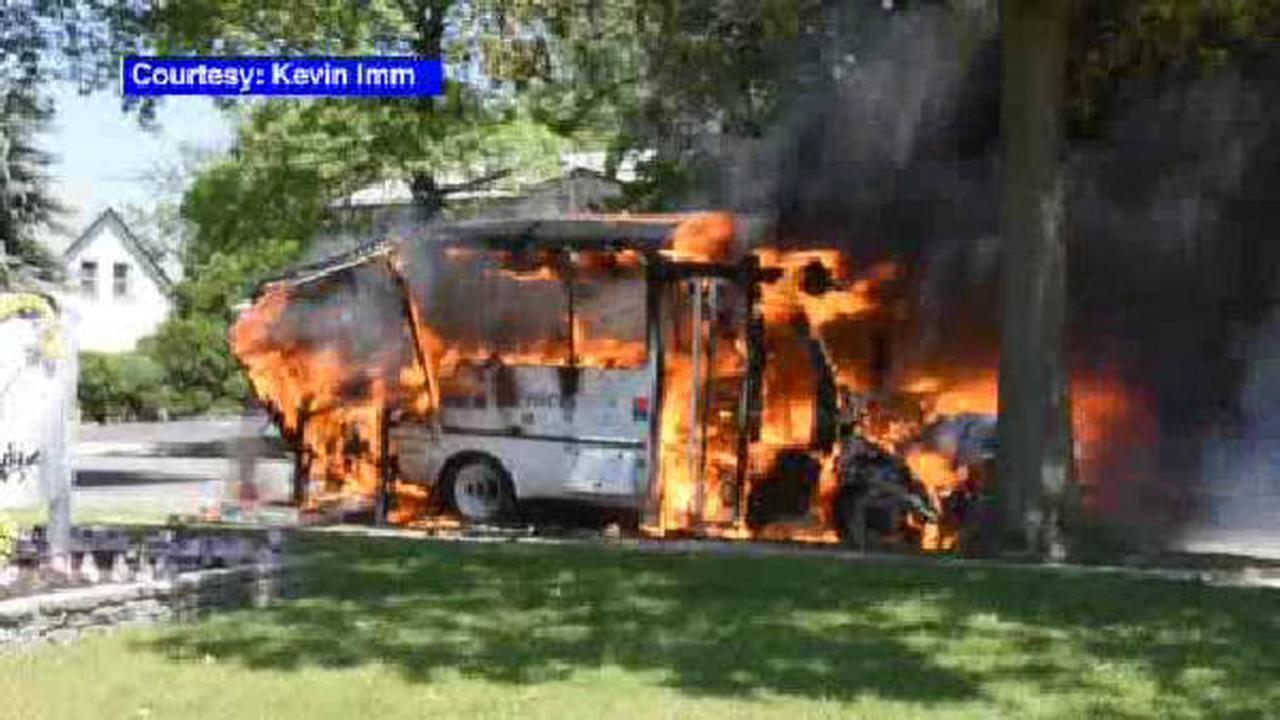 A Nassau Inter-County bus caught fire in Plainview, LI