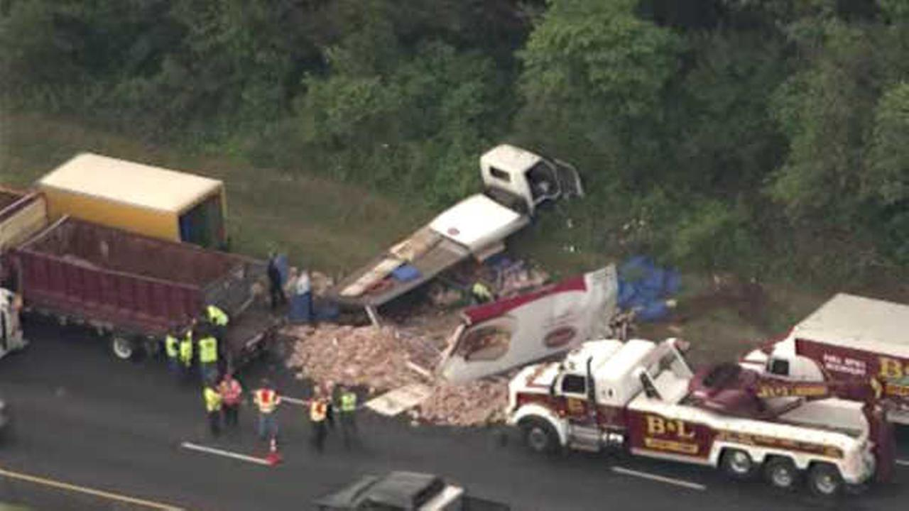 Deli meat truck collides with bread truck; no one injured
