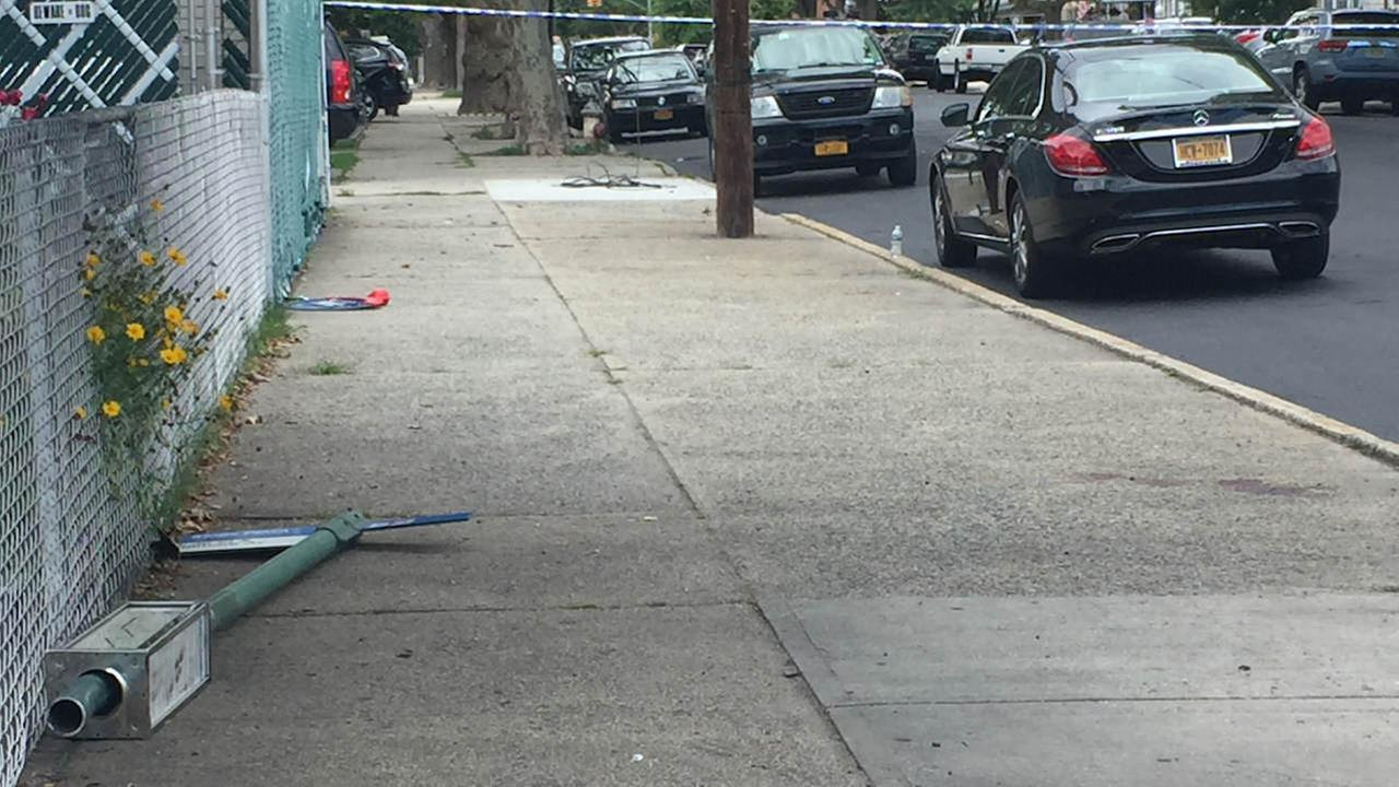 Woman hit by bus stop pole when car jumps curb in Brooklyn