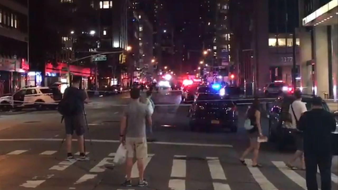 Suspicious object thrown at NYPD cruiser in Midtown; all clear given