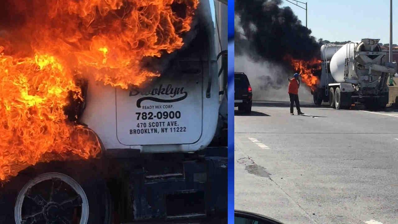 A cement truck caught fire on the Long Island Expressway in Maspeth Saturday morning.