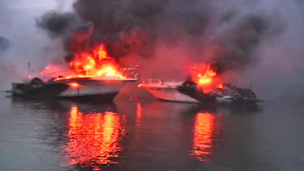 5 boats catch fire in East Patchogue
