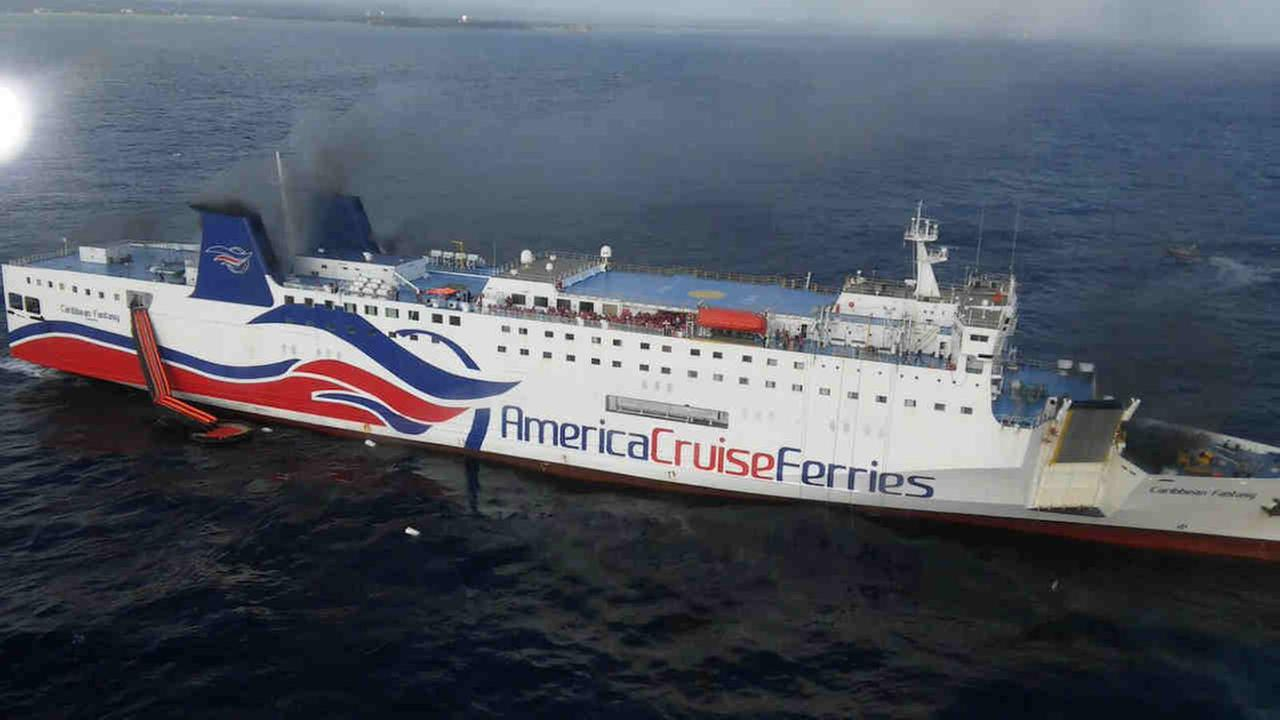 A passenger/car ferry has been reported on fire off Puerto Rico