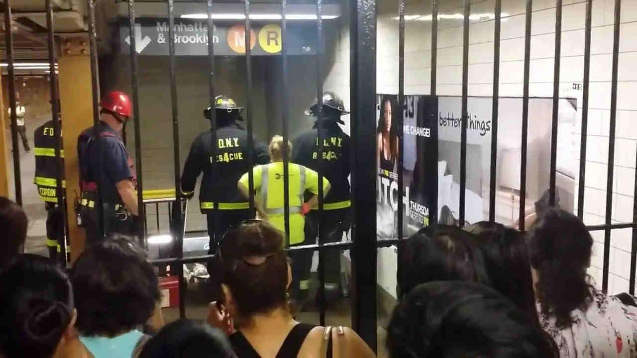 A woman was struck by a train at the Elmhurst Avenue train station in Elmhurst, Queens.