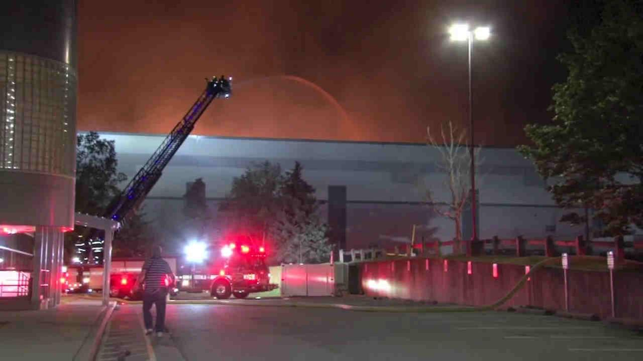 A six-alarm fire burned through a Fishkill warehouse that serves as the Gaps regional distribution center.