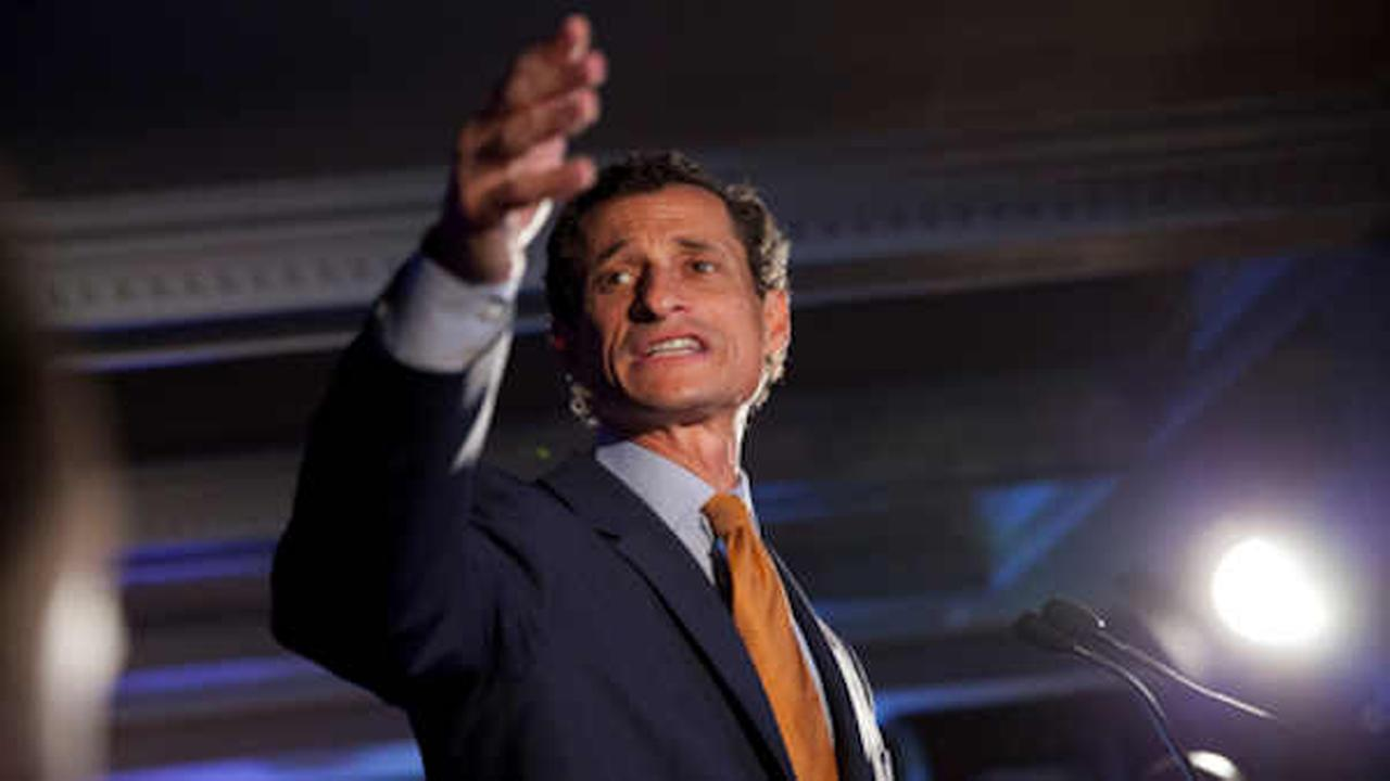 In this Tuesday, Sept. 10, 2013 file photo, Democratic mayoral hopeful Anthony Weiner makes his concession speech (AP Photo/Jin Lee, File)