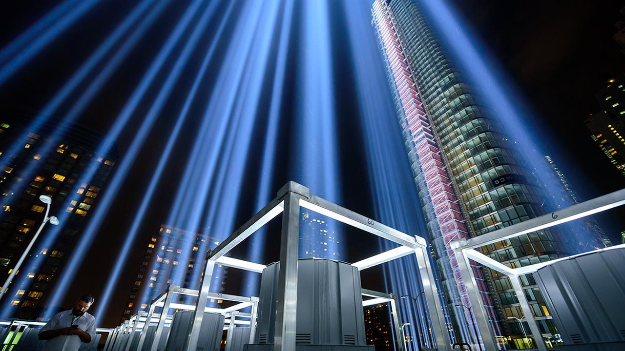 The Tribute in Light memorial shines in Lower Manhattan on the night before the 15th anniversary of the September 11, 2001, terror attacks.