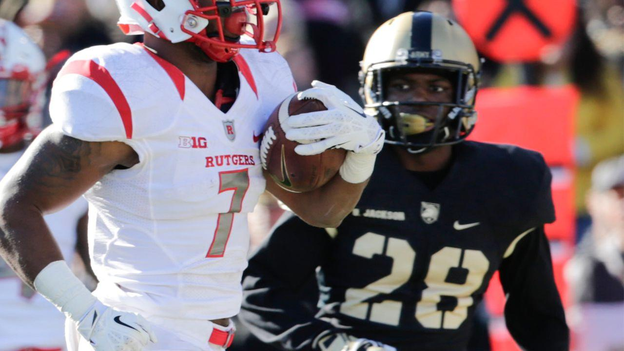 In this Nov. 21, 2015 file photo, Armys Brandon Jackson (28) pursues Rutgers running back Robert Martin (7) who scored a touchdown during a football game in West Point, N.Y.