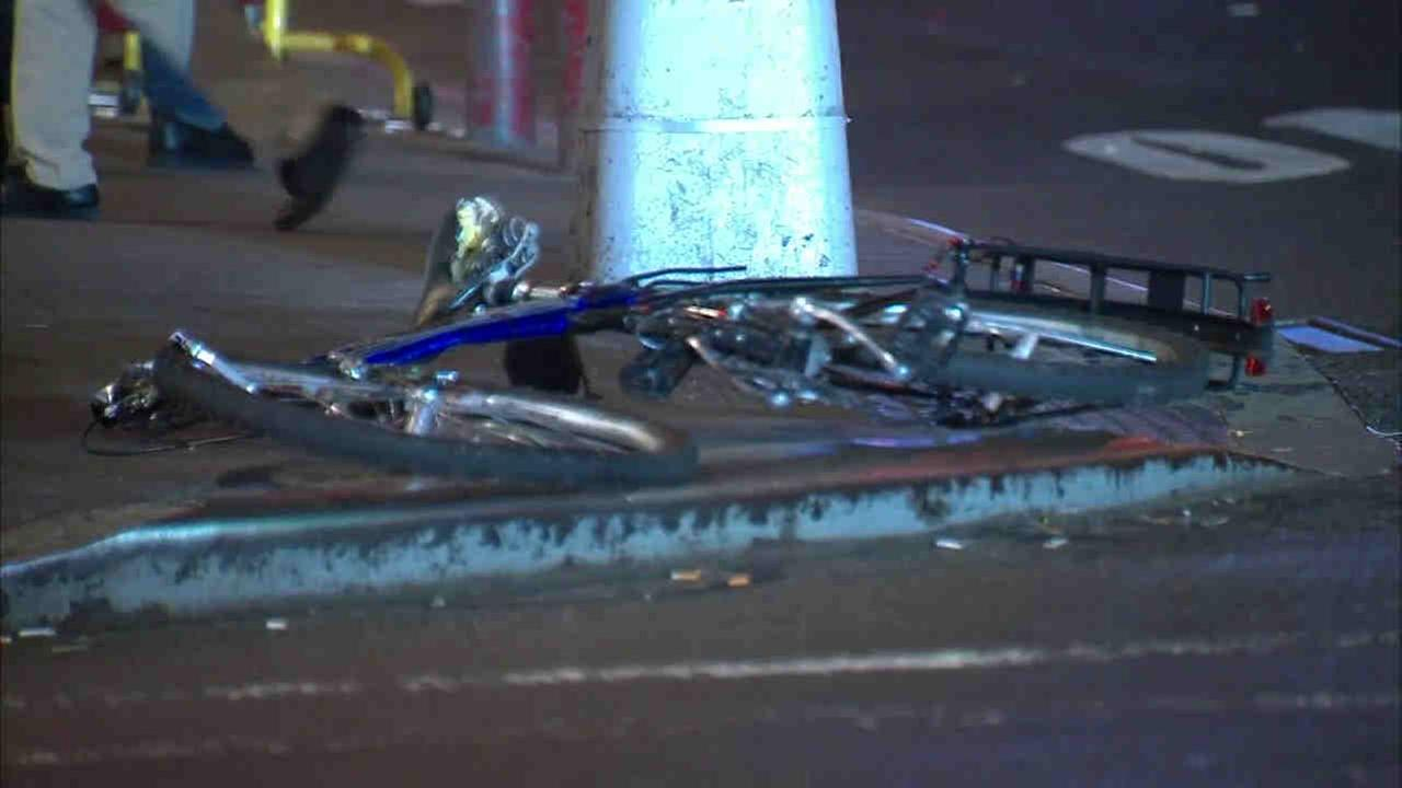 A bicyclist was struck by a hit-and-run truck in Midtown.