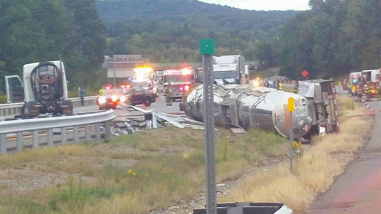 An overturned tractor-trailer on the northbound New York State Thruway shut down the road near Harriman Saturday morning.