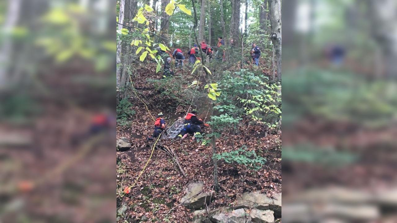 Boy calls 911 after falling down side of Boonton cliff