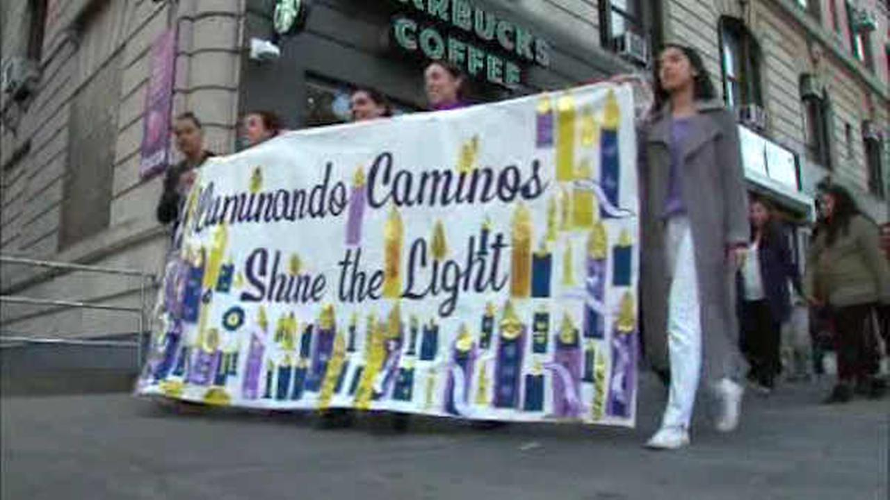 Groups march in Washington Heights to call attention to domestic violence