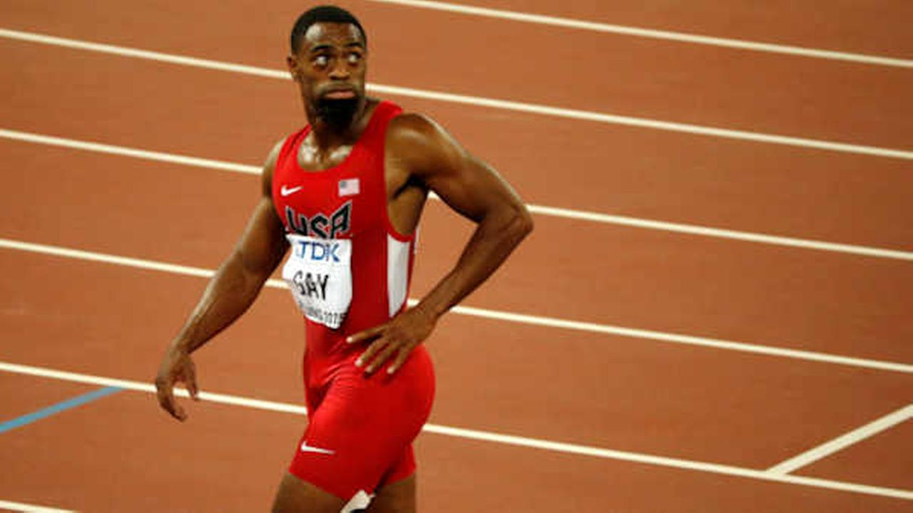 In this Aug. 23, 2015, file photo, United States Tyson Gay leaves the track after the mens 100-meter final at the World Athletics Championships  (AP Photo/Mark Schiefelbein, File