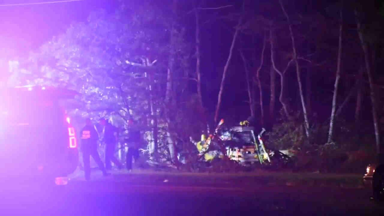 Two people were killed, and a third critically injured, in a crash in Calverton Tuesday night.
