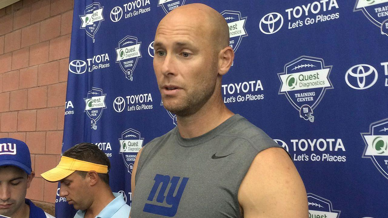 New York Giants Josh Brown speaks with reporters at NFL football teams training camp in East Rutherford, N.J. on Aug. 18, 2016.