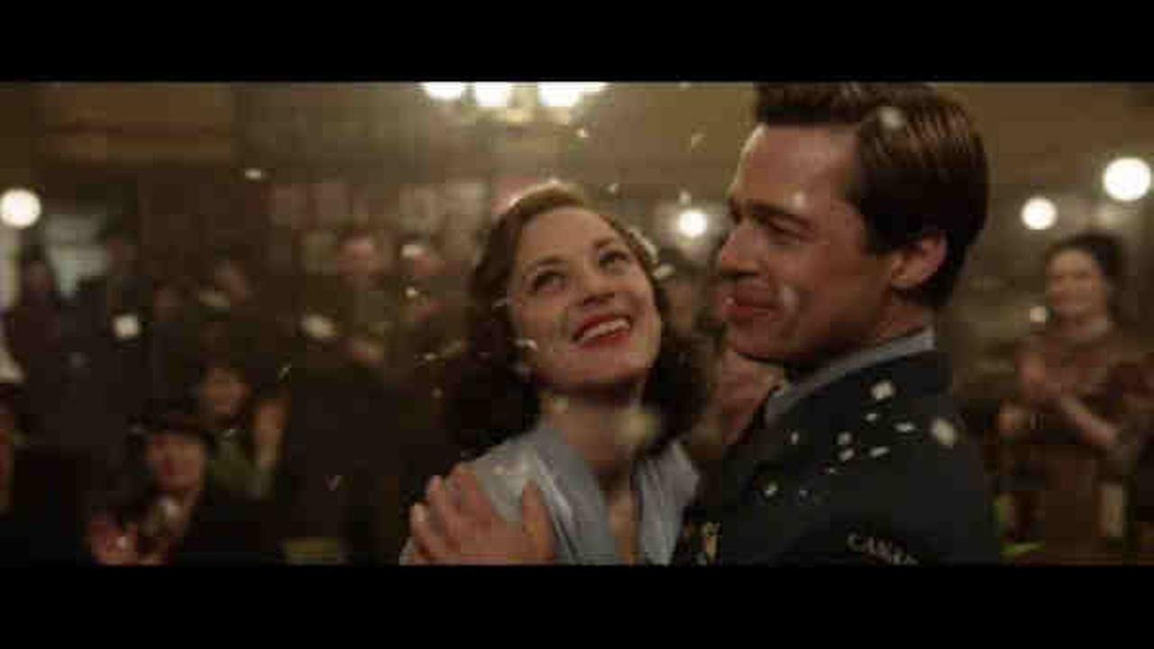 Actors Brad Pitt and Marion Cotillard in Allied
