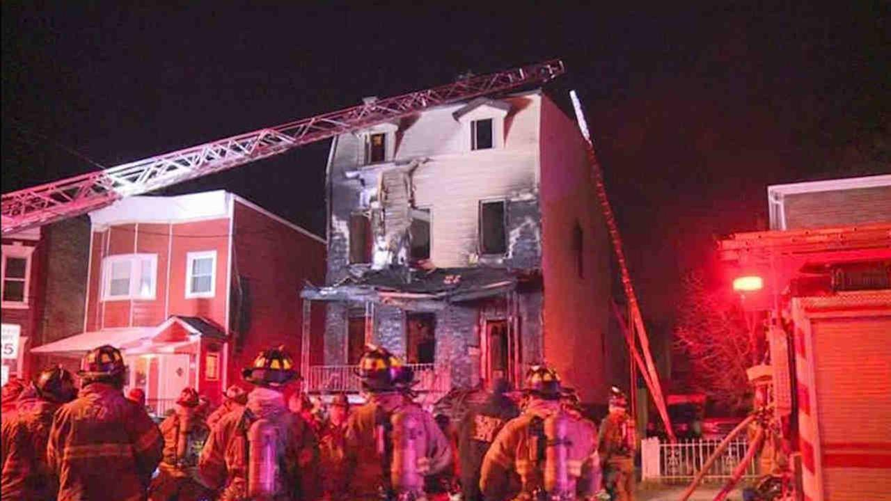 One person was critically hurt after flames tore through a home in Jersey City.
