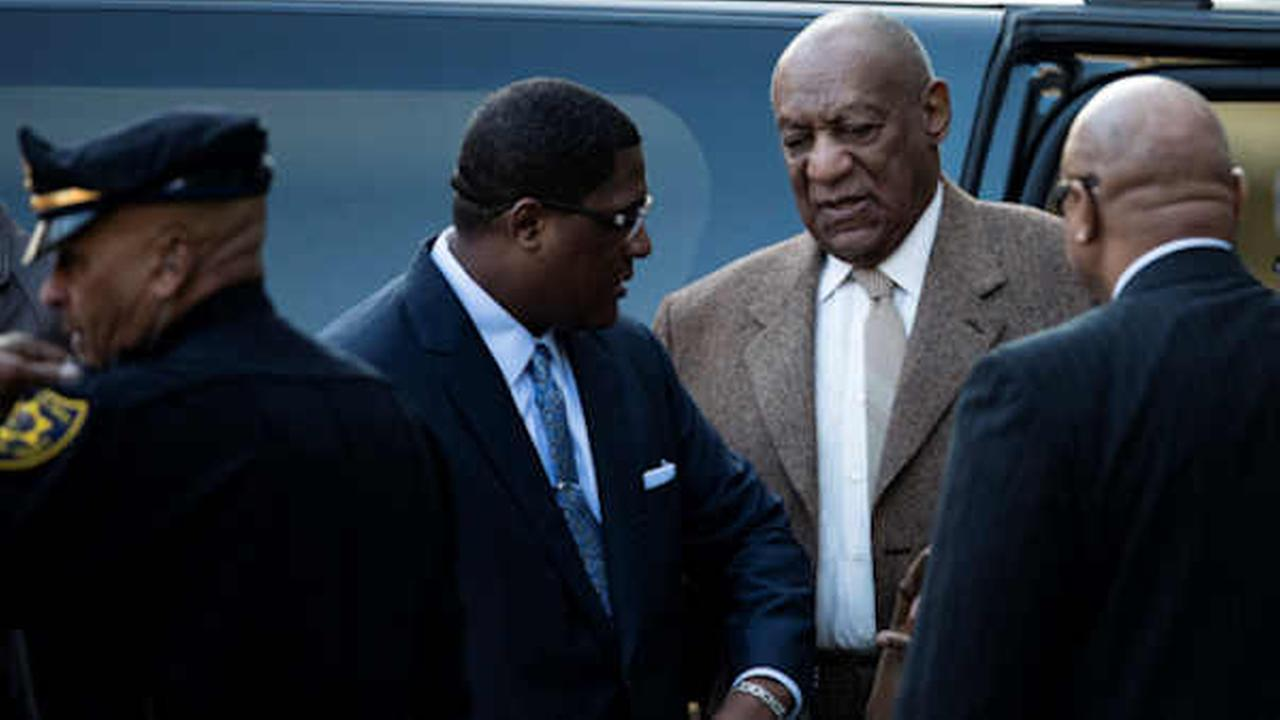 Bill Cosby arrives for a pretrial hearing in his sexual assault case at the Montgomery County Courthouse in Norristown, Pa.  (AP Photo/Matt Rourke)