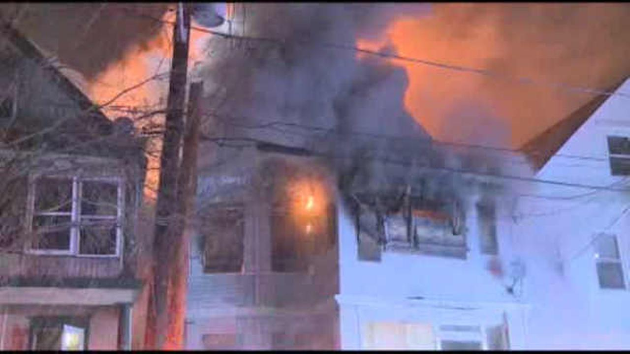 3-alarm fire tears through abandoned home in Orange, New Jersey