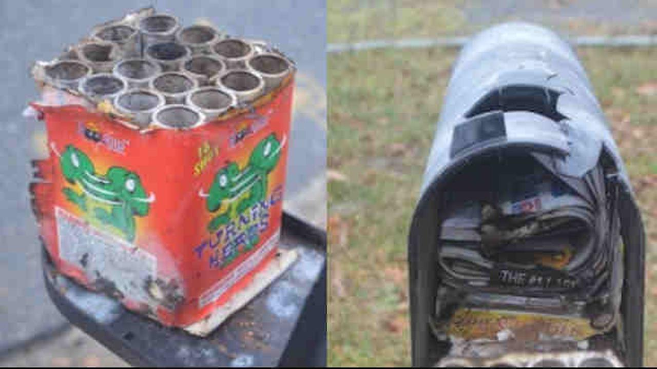 Police on Long Island are looking for suspects after the mailbox at a home was damaged.