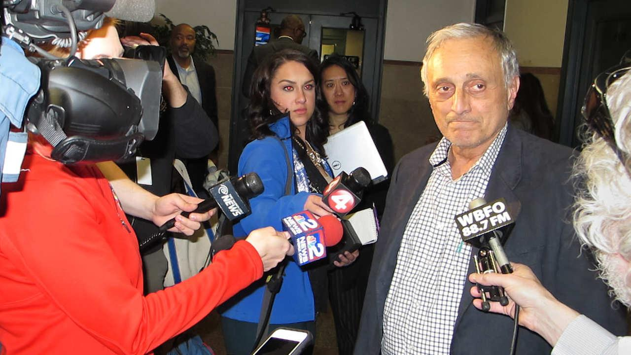 In this April 28, 2016 photo, Buffalo Board of Education member Carl Paladino speaks to reporters after a board meeting in Buffalo.