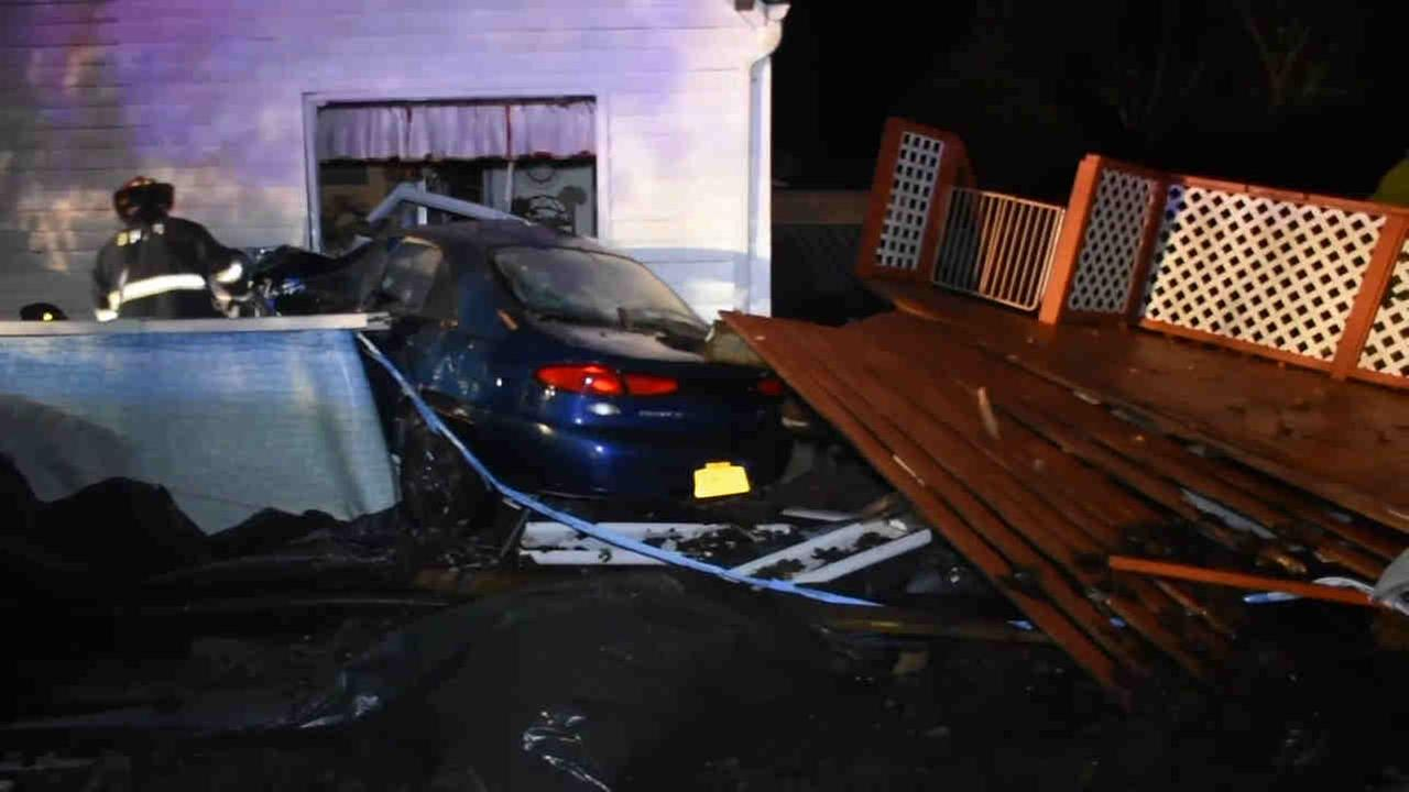 Around 11:30 p.m. Thursday, Suffolk County Police responded to a home in Shirley where a car had crashed into a pool and home.