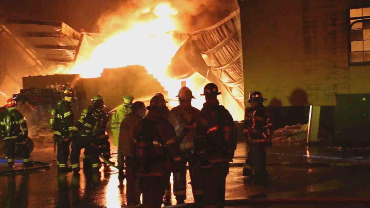 The fire started around 2:30 a.m. inside the Jet Sanitation Warehouse in Islandia.