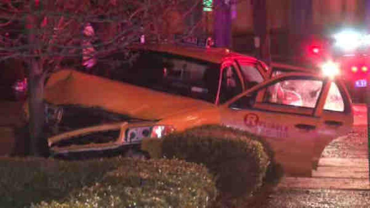 The taxi crashed at Highland Road and Purchase Street at around 1:20 a.m. in Rye.