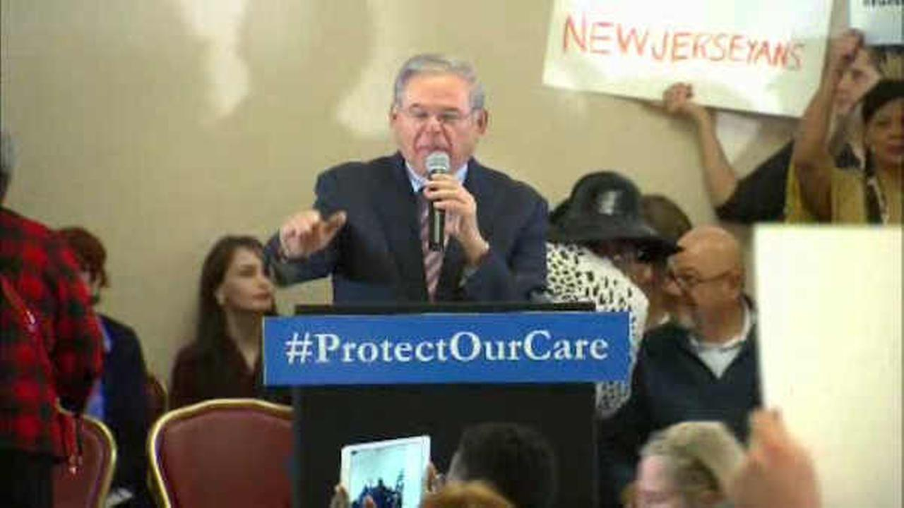 Sen. Robert Menendez spoke at Sundays rally in Newark.