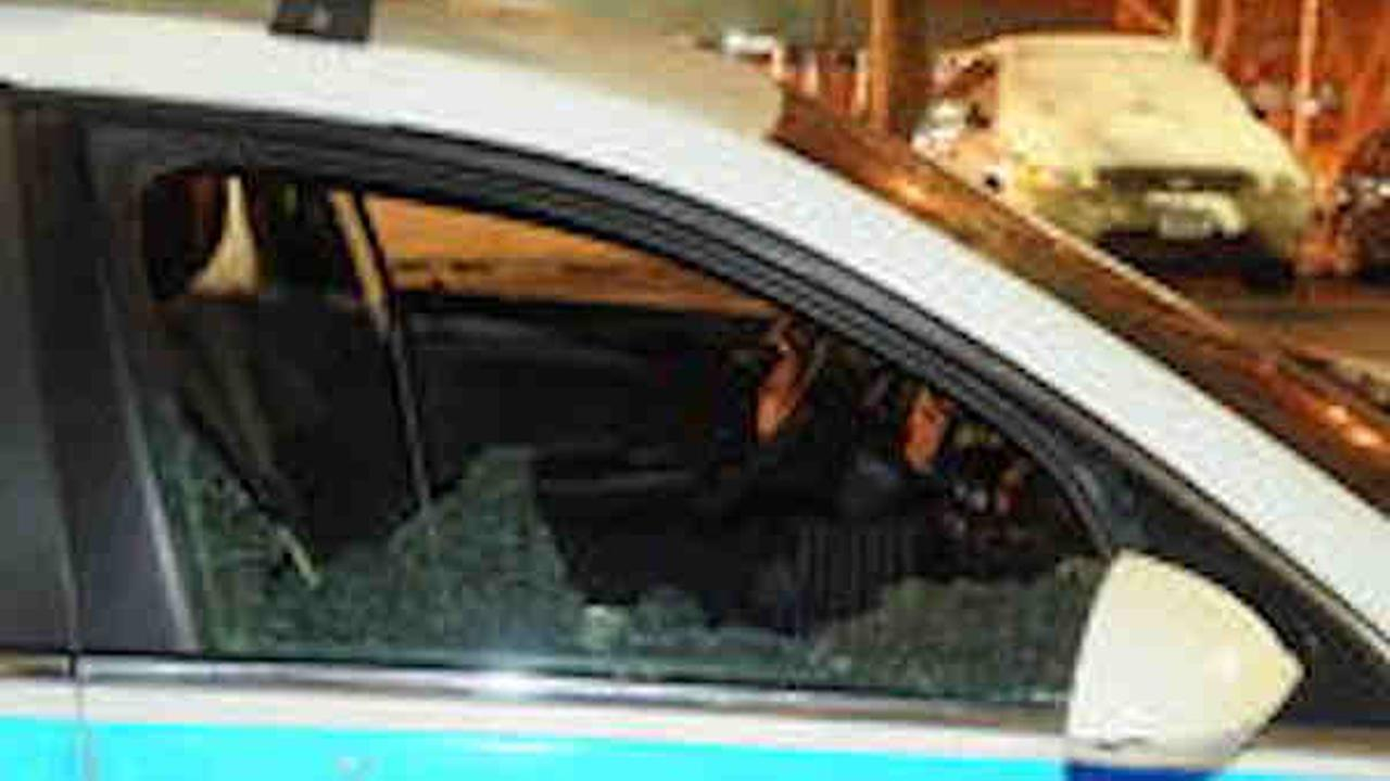 BBs apparently shot out windows of a police cruiser parked by Linden Houses in Brooklyn.