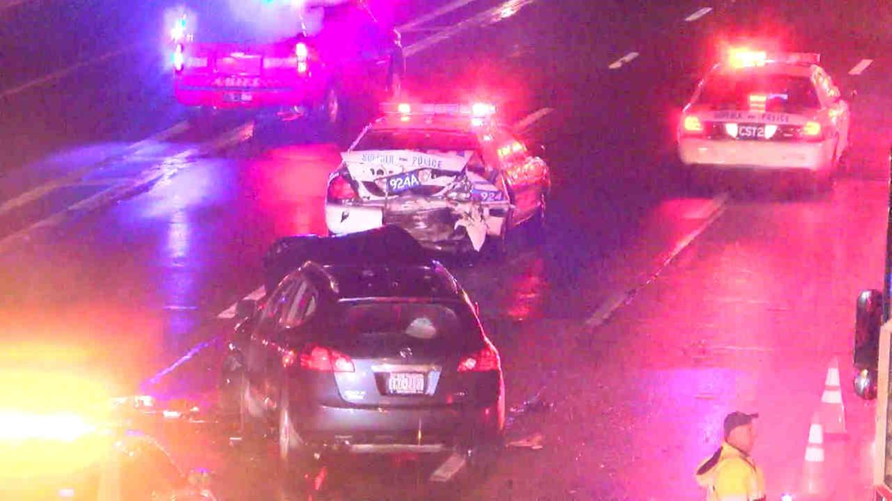 A police officer was hurt in a wreck in Hauppauge, Long Island Friday night.
