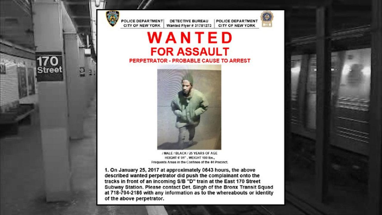 Surveillance photo of suspect wanted in Bronx subway push